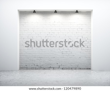 modern wall in white room - stock photo