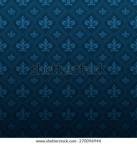 Modern Wallpaper Pattern. Background for Your design. Dark cover. Ornate image texture. Old style. Damask. For design of cards, invitations, book, web design, wallpapers for walls. Blue color  - stock photo