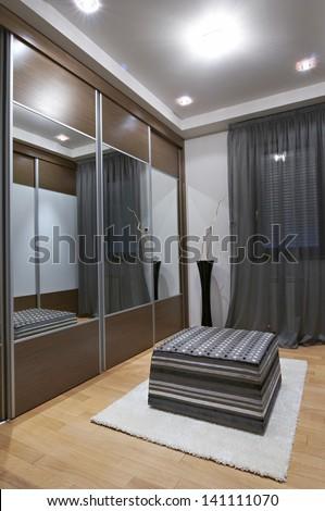 modern wardrobe interior - stock photo
