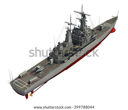 Modern Warship Over White Background. 3D Illustration. - stock photo