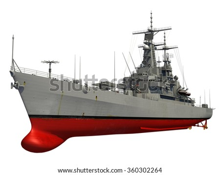 Modern Warship Over White Background. 3D Model. - stock photo