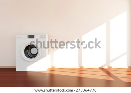 Modern Washing Machine Standing near the Wall in Room 3D Interior with Sunlight. 3D Rendering - stock photo