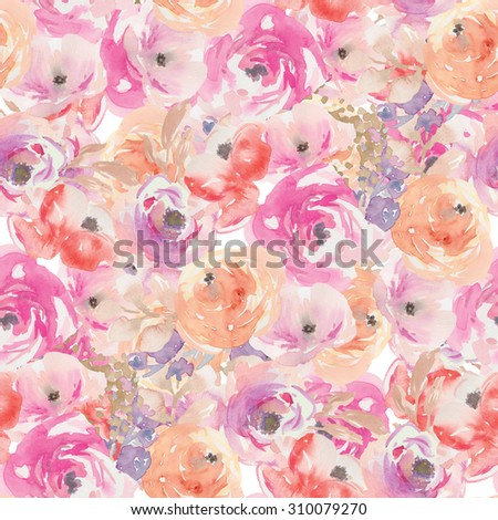 Modern Watercolor Floral Pattern. Abstract Floral Pattern. Watercolor Flower Pattern. Modern Floral Pattern. - stock photo