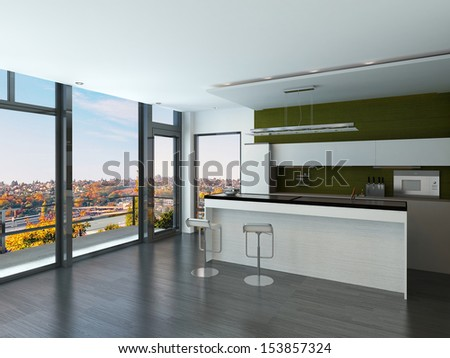 Modern white and green kitchen interior with two bar stools - stock photo
