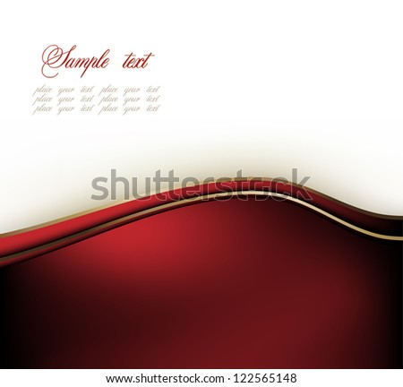 Modern white and red background with abstract wave