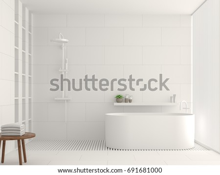 Modern White Bathroom Interior 3d Rendering Image. There Are White Tile  White Brick Pattern On