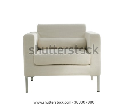modern white cozy armchair isolated on white - stock photo