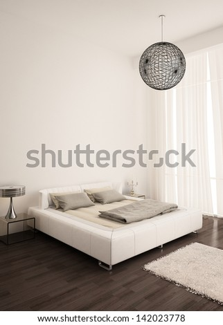 Modern white design bedroom with curtain - stock photo