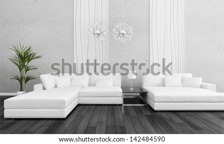 Modern white design couch with flower - stock photo