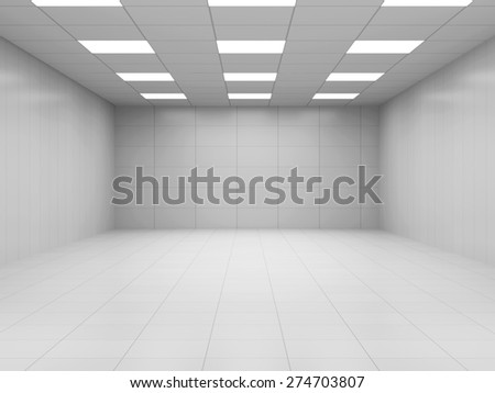 Modern White Empty Business Room 3D Interior. 3D Rendering