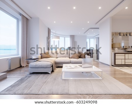 Modern Classic New Traditional Living Room Stock Illustration ...