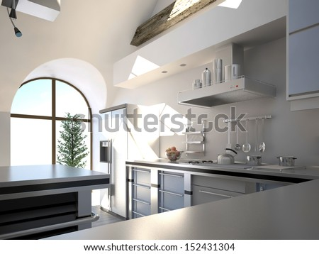 Modern white kitchen interior in a sunny room with half-round window - stock photo