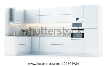 Modern white kitchen isolated on white (studio light version) - stock photo