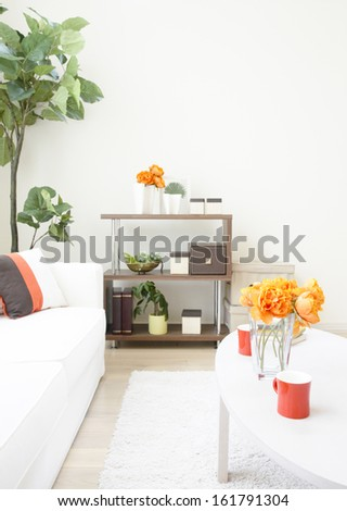 modern white living room - stock photo