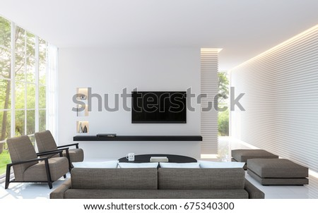 Modern White Living Room Decorate Wall With Line Pattern And Hidden Warm  Light 3d Rendering Image Part 84