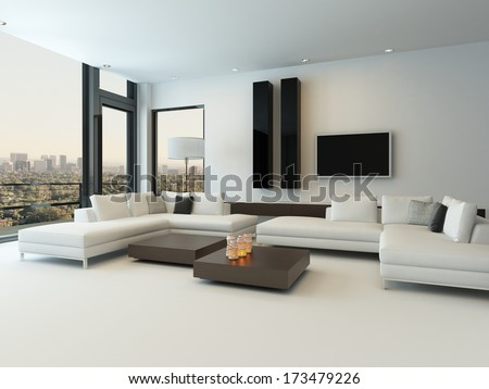 Beau Modern White Living Room With Wooden Furniture
