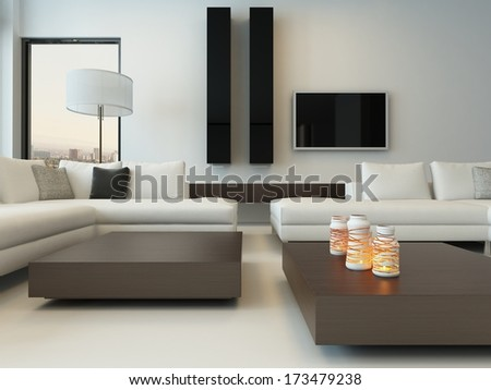 Modern white living room with wooden furniture - stock photo