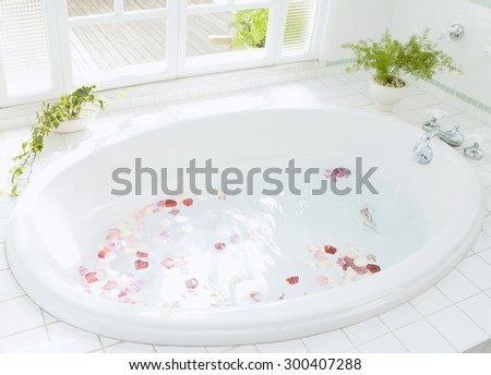Modern white luxury bathroom interior - stock photo