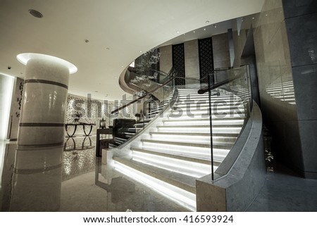 Modern white marble stairs for luxury interior. - stock photo