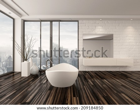 Modern white minimalist bathroom interior with a freestanding bath tub and recessed wall alcove with wrap around floor-to-ceiling view windows overlooking a town - stock photo