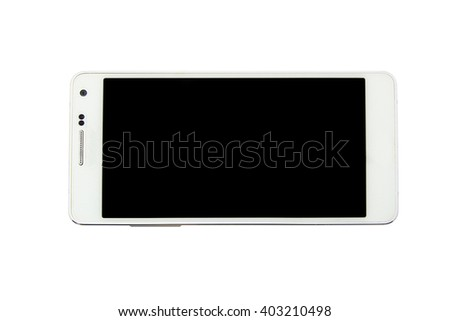 Modern white mobile smart phone with blank screen isolated on white background. - stock photo
