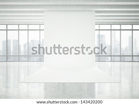 modern white office interior - stock photo