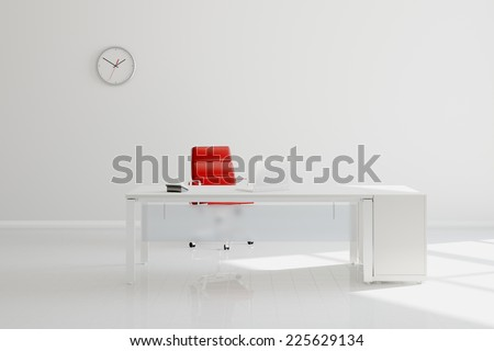 Modern white office with desk in front of wall with clock (3D Rendering) - stock photo