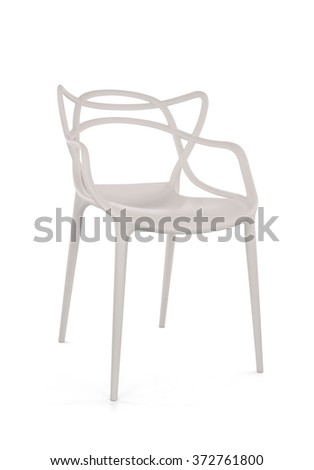 Modern White Plastic Cafe Chair on White Background, Three Quarter View