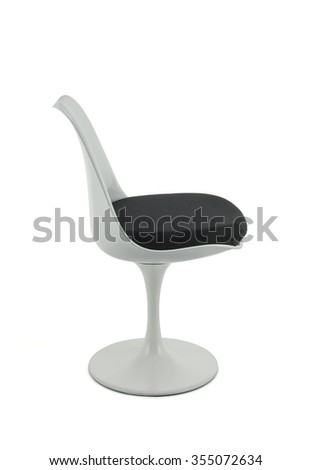 Modern White Plastic Chair with Black Cushion, Side View