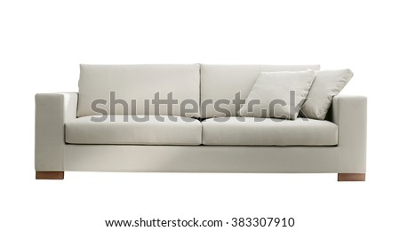 modern white suede couch isolated on white background - stock photo