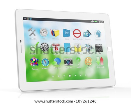 Modern White Tablet PC isolated on white background - stock photo