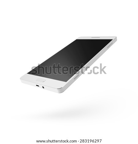 Modern White Touchscreen Smart Phone isolated on white background