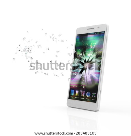 Modern White Touchscreen Smart Phone with Broken Screen isolated on white background