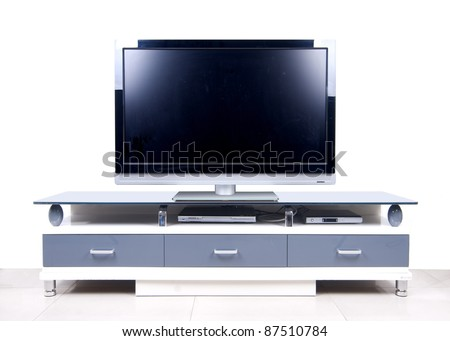 modern white TV Cabinet - stock photo