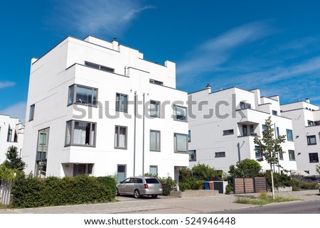 Modern white twin houses seen in Berlin, Germany