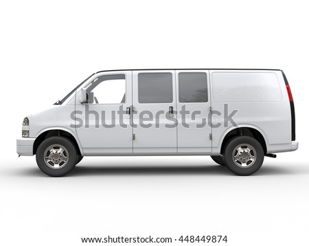 Modern white van - side view - isolated on white background - 3D illustration