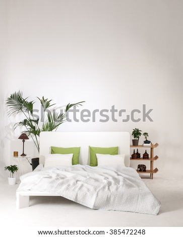 modern white wall bedroom and bed with green pillow minimal decor - stock photo