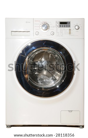 Modern white washing machine, isolated on white background