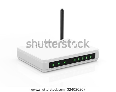 Modern White Wireless Router isolated on white background. Technology Concept.