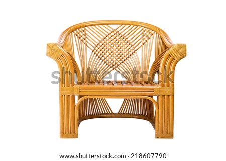 Modern wicker chair isolated on a white background - stock photo