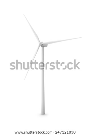 Modern wind turbine isolated on white - stock photo
