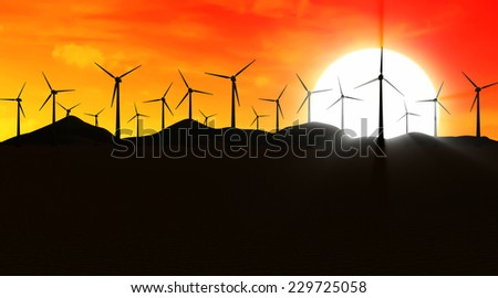 Modern Wind Turbines Farm in Desert at Sunset - stock photo