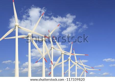 Modern wind turbines Green Energy - stock photo