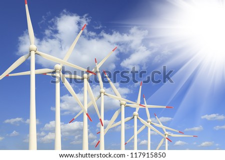 Modern wind turbines Green Energy - stock photo