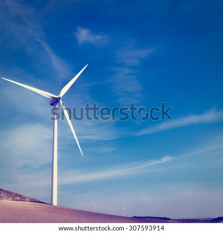Modern Wind Turbines Producing Energy in Spain, Instagram Effect - stock photo