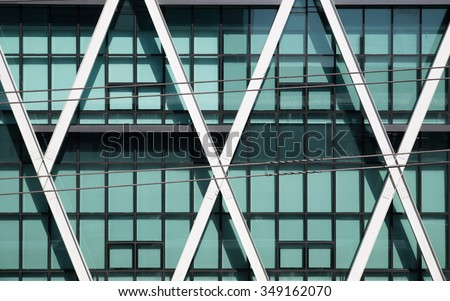 Modern window of building with steel structure.