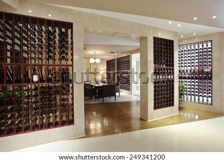 modern wine shop,Wine Restaurant - stock photo
