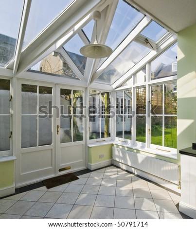 modern winter garden with double glazed window construction - stock photo