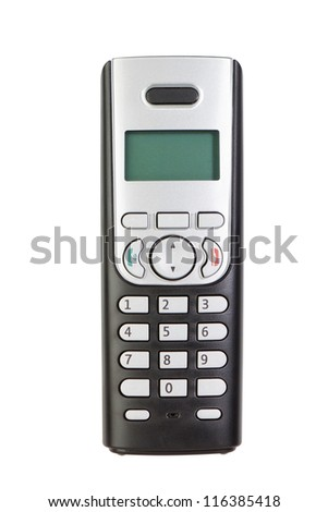 Modern wireless phone, close-up. On a white background. - stock photo
