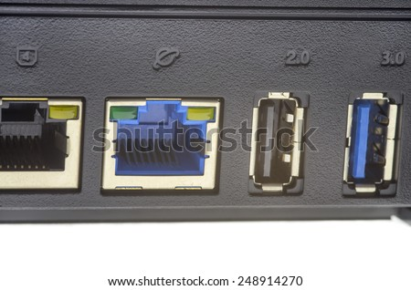 Modern wireless router ports, close up image - stock photo
